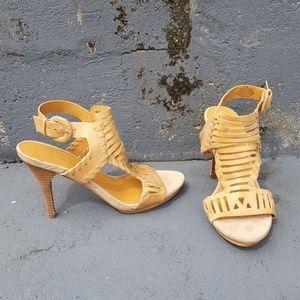 Nine West tan leather heeled sandal